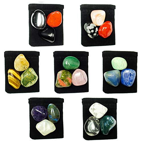 21 Stone MEGA-CHAKRA HEALING Tumbled Crystal Set with 7 Pouches & 7 Description Cards
