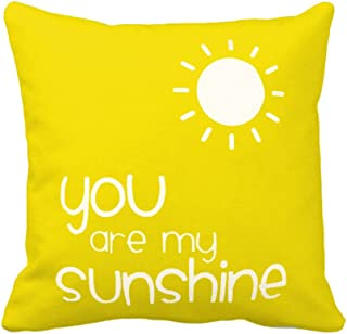 Aremazing Cotton Linen Home Decor Yellow Pillowcase Throw Pillow Cushion Cover 18 x 18 Inches Love Inspirational Quotes (You are My Sunshine)