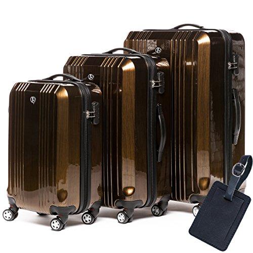 FERGÉ Kofferset Hartschale 3-teilig + 1x Anhänger Cannes Trolley-Set mit Handgepäck 55 cm 3er Set Hartschalenkoffer Roll-Koffer 4 Rollen Bronze