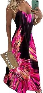lexiart Women Summer Casual Strap Dress Sleeveless Plus Size Flame Print Long Maxi Dresses