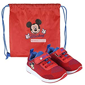 Disney Mickey Mouse Boys Shoes Trainers Sneakers, Lightweight Design! Kids Sport Drawstring Bag, Easy Velcro Closure, Gift For Boys! Size UK 9 | EU 26