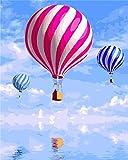 Fuumuui Lienzo de Bricolaje Regalo de Pintura al óleo para Adultos niños Pintura por número Kits Decoraciones para el hogar-Globo de Aire Caliente Rosa 16 * 20 Pulgadas