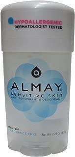 Almay Sensitive Skin Clear Gel Anti-Perspirant & Deodorant, Fragrance Free,2.25 oz(4 Pack)