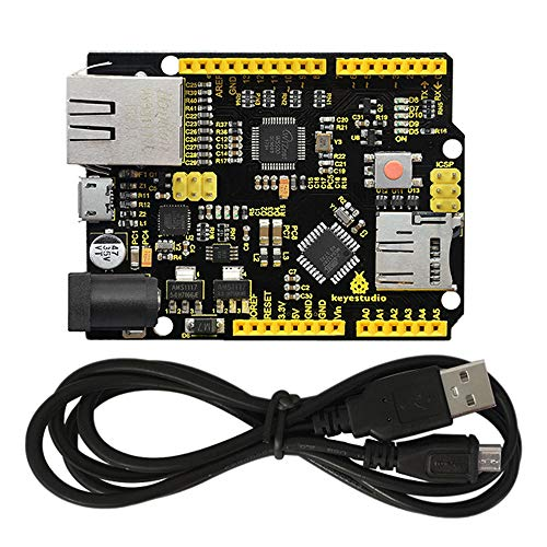 KEYESTUDIO Module Accessory Starter Kit W5500 Ethernet Development Board support MicroSD Card w/USB Cable (No POE) für Arduino MEGA2560 R3