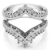 TwoBirch 0.98 Ct. Filigree Vintage Wedding Ring Guard in Sterling Silver with Cubic Zirconia (Size 8)