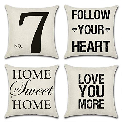 UooMay Family Throw Pillow Cases Covers - Set of 4 Sofa Couch Home Sweet Home Cotton Linen Saying Words Cushion Rustic Decorative Farmhouse Style Decorations 18x18 inch