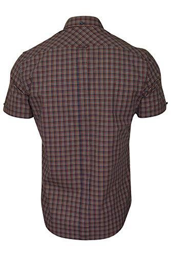Ben Sherman Mens Shirt 'Mini Gingham' - Short Sleeved (Peach) XXL