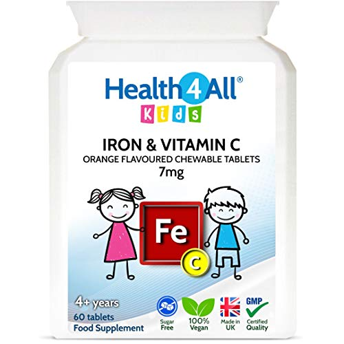 Kids Iron Chewable 60 Tablets Learning and Growth Support. Vegan Iron Supplement for Children. Made by Health4All