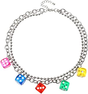 Pingyongchang Harajuku Cute Colorful Dice Lovely Punk Choker Necklaces Women Jewelry Couple Gift Necklace Pendant Chokers ...