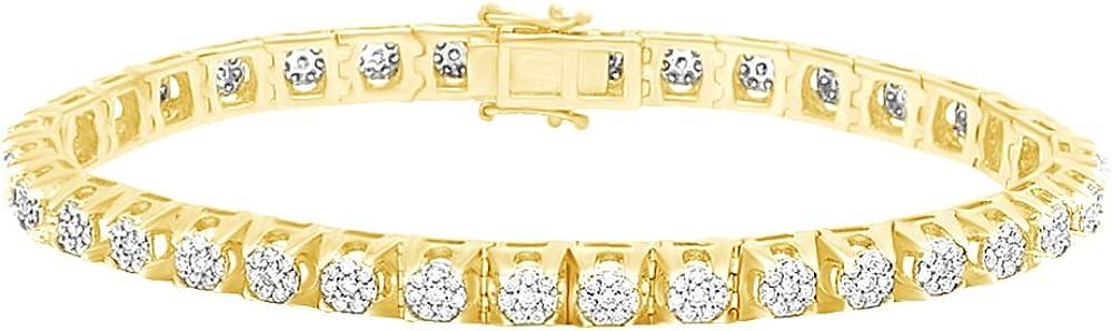 Affy bracciale tennis in oro massiccio 14 ct/585,con diamanti naturali bianchi a taglio rotondo 5,75 MNo-UK-CMB32653-YG-8.5