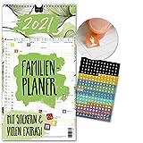 Familienplaner 2021 – FLORAL   5 Spalten   Wandkalender: 23x43cm   Familienkalender Extras: 228 Sticker, Ferien 2021/22, Pollen-, Obst- & Gemüse-, Jahreskalender, Vorschau bis März 2022
