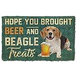 TIANTURNM Felpudos Entrada casa Alfombra Salon Espero Que hayas traído Cerveza y Felpudo con golosinas para Beagle Decoracion Hogar Regalos 24'x36'