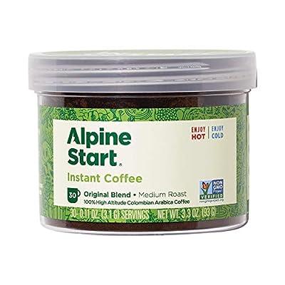 Alpine Start Medium Roast Blend Premium Instant Coffee Bulk Reusable Jar, Original, 3.3 Oz
