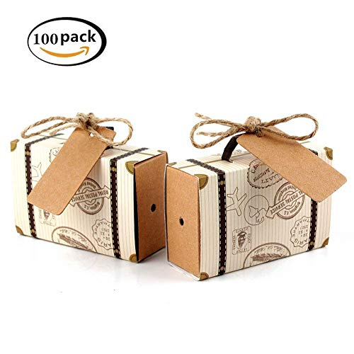 100pcs Mini Suitcase Favor Box Party Favor Candy Box,wedding favours party boxes Vintage Kraft Paper with Tags and Burlap Twine for Wedding