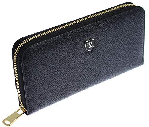 EMIRUS® Geldbeutel Damen Echt Leder |Elegante| TÜV geprüft | RFID NFC Schutz | Geldbörse Quer 14 Kartenfächer Münzfach (Schwarz)