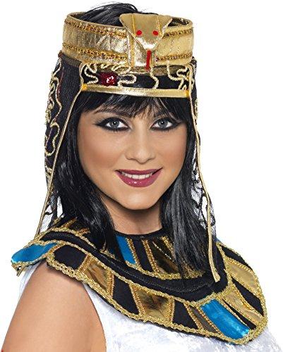 Smiffy's-37084 Pieza para la Cabeza egipcia, con diseño de Serpiente, Color Oro, No es Applicable (37084)