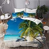 KIMDFACE Funda Edredón,Palma de Coco en la Playa caribeña de Cancún, México,Ropa de Cama Funda Nórdica,1(140x200cm)+2(50x80cm)