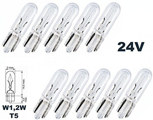 24 Volt - 10 Stück - W 1,2W - T5 - - 1,2Watt - Nfz LKW Beleuchtung - Armaturbeleuchtung Glühlampe, Glassockellampe, Glühbirne, Soffitte, Lampen. mit E-Prüfzeichen [STVZO zugelassen] - Hallenwerk