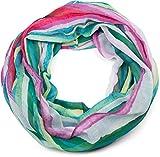 styleBREAKER fular de tubo de mujer con un colorido motivo a rayas «color blocking», fular de tubo, pañuelo 01016184, color:Verde-Azul-Rosa