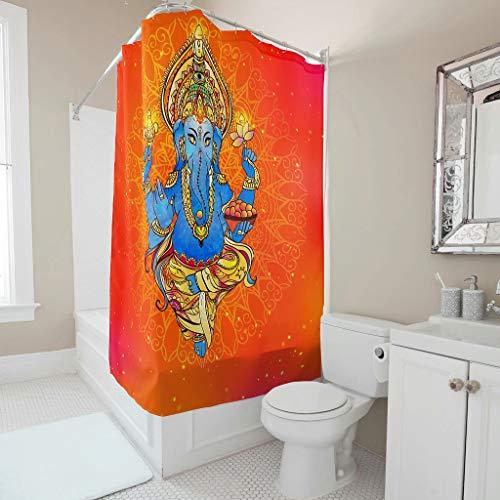 Gamoii Yoga Elefant Blau Orange Duschvorhang Bad Vorhänge Mode Schlafsaal Vorhang Wasserabweisend Badvorhang mit Vorhanghaken White 150x200cm