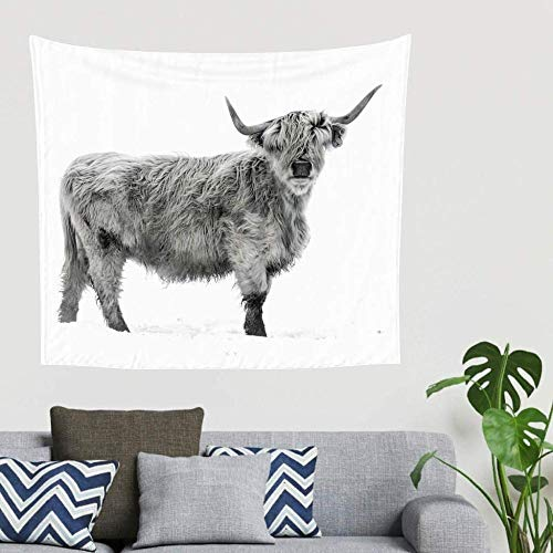 BOIPEEI Gray Highland Cattle Animal Art Print Tapiz para Colgar en la Pared Decoración Tapiz de Tela Misterioso Toallas de Playa White150cm X 200 Cm