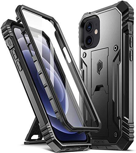 POETIC Revolution Serie 360 Grad Hülle für iPhone 12 / iPhone 12 Pro (6.1 Zoll), Ganzkörper Schutzhülle mit Ständer & integriertem Bildschirmschutz, Robuste, Stoßfeste Fullbody Handyhülle, Schwarz
