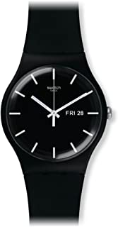 Mono Black Quartz Watch with Silicone Strap, 20 (Model:...