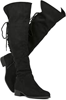 Women's Over The Knee Boots Back Corset Lace Up Fold Cuff Back Tie Flat Knee High Dress Riding Boots