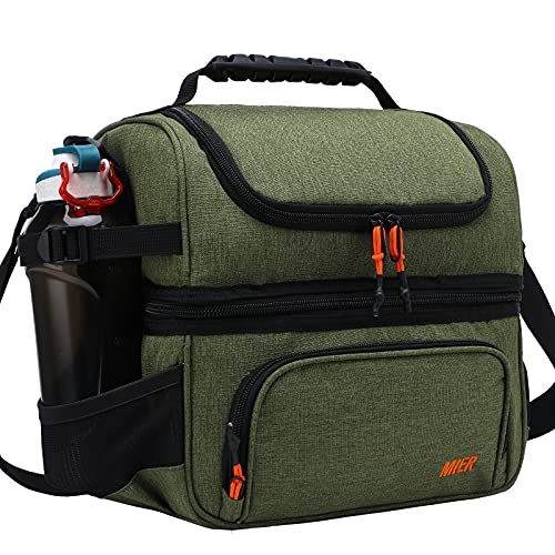 MIER Dual Compartment Lunch Bag Tote with Shoulder Strap for Men and Women Insulated Leakproof Cooler Bag, Army Green is $30.59 (15% off)