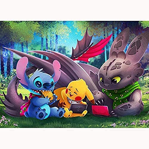 REOMFJG DIY 5D Diamond Painting Cross Stitch Embroidery Stitch and Pikachu and Toothless for Room Decor 40X50Cm