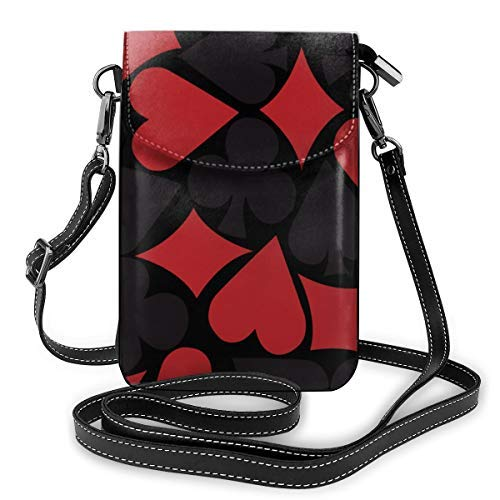XCNGG Women Girls Small Crossbody Cell Phone Purse Wallet with Card Slots Mini Messenger Shoulder Bag Wallet for Travel Work Outdoor, Poker Heart Square Pattern