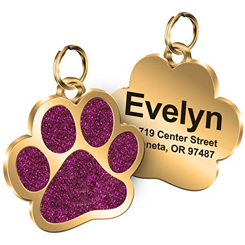 TedYoho Personalized Engrave Pet ID Tags Paw Shape Custom Glitter Pet Supplies Engrave Name Number Elegant Plated Unique Gift for Cats Little Dogs (Rosy)