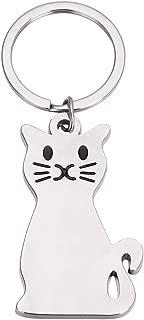 Mayitr 1pc Silver Cat Keychain Key Ring Cute