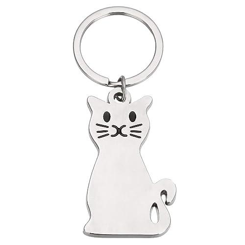 Mayitr 1pc Silver Cat Key Chain Key Ring Cute 23086051a5