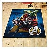 Tapis Enfant 95x125 cm Rectangulaire Avengers 02 A-Team Multicolore Chambre adapté au Chauffage par Le Sol