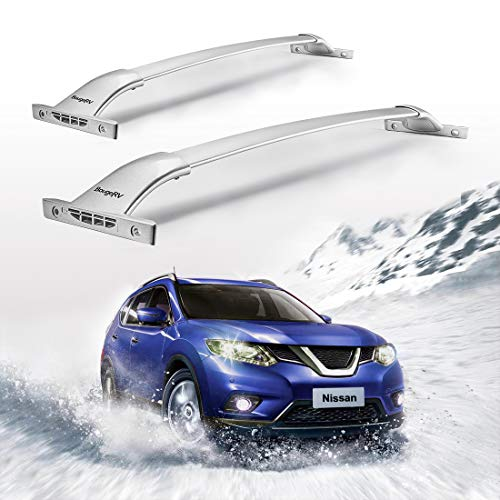 BougeRV Car Roof Rack Cross Bars for 2014-2020 Nissan Rogue with Side Rails, Aluminum Cross Bar Replacement for Rooftop Cargo Carrier Bag Luggage Kayak Canoe Bike Snowboard Skiboard