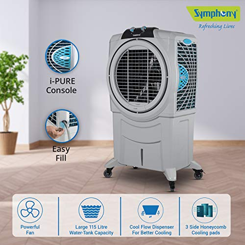 Symphony Sumo 115 XL Powerful Desert Air Cooler 115-litres, +Air Fan, Easy-Fill, 3-Side Honeycomb Pads, i-Pure Console (Grey)