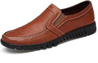 Rui Landed Perforated Loafers For Men Casual Shoes Slip-on Business Dating Banquet Dress Summer Breathable Lightweight Anti-slip Genuine Leather Durable (Color : Brown, Size : 48 EU)