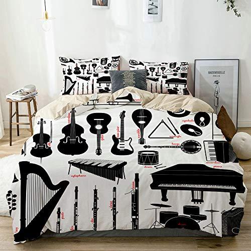 MEJX Bettwäsche-Set,Mikrofaser,Beige,Klarinette Musikinstrumente Flöte Banjo Trommel Fagott Klavier Piccolo Posaune Design,1 Bettbezug 200x200 + 2 Kopfkissenbezug