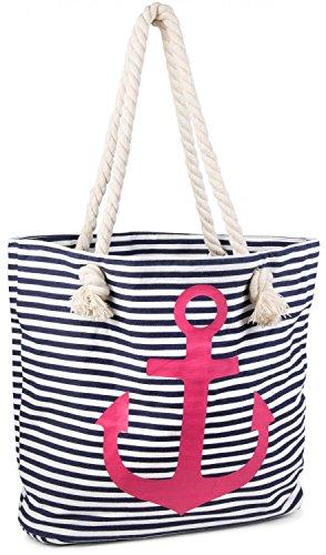 styleBREAKER Strandtasche in Streifen Optik mit Anker, Schultertasche, Shopper, Damen 02012038, Farbe:Marine-Weiß/Pink