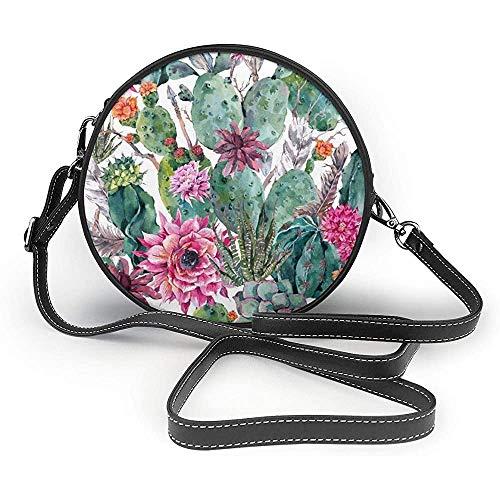 TURFED Kakteen Sukkulente rote Blume Bonsai Print runde Umhängetaschen Frauen Umhängetasche Verstellbarer PU-Leder-Kettenriemen und Reißverschluss Kleine Handtasche Griff-Tasche
