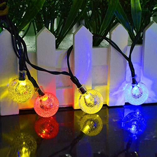 Solar Lichterkette Kristall Kugeln,Cshare 50 LED 7M 8 Modi Wasserdicht Außer/Innen Lichter Beleuchtung für Garten, Bäume, Terrasse, Weihnachten, Hochzeiten, Partys (mehrfarbig)