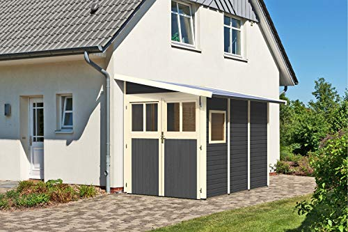 Unbekannt KARIBU Gartenhaus Wandlitz, Fichtenholz 19 mm, Pultdach, versch. Ausführungen terragrau Wandlitz 3, ca. 181x268x230 cm
