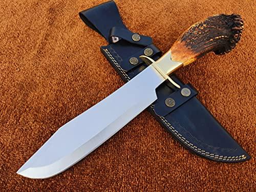 Bowie Knife, Custom Handmade D2 Steel Inglorious Basterds Aldo Raine Replica Bowie Knife, Tactical Knife, Hunting Knife with Leather Sheath
