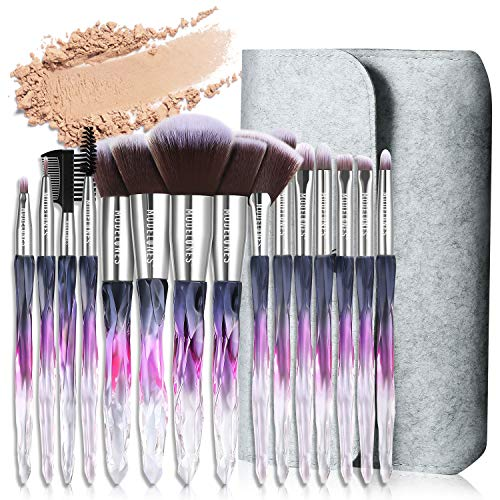 Modelones 15 PCs Makeup Brushes, Acrylic Handle Series Professional Premium Synthetic Cosmetic...