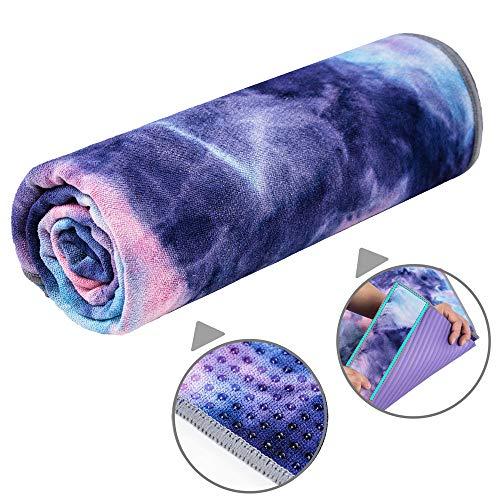 adorence Yoga Handtuch rutschfest Noppen (verbesserte PVC-Griffe + Seitentaschen) Mikrofaser Schweißabsorbierend &...