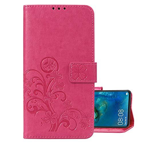 LEMORRY Handyhülle für Sharp AQUOS sense2 SHV43 Hüllen Tasche Ledertasche Beutel Magnetisch Stehen Cover mit Kartenschlitz Weich Silikon Schale SchutzHülle für Sharp SHV43, Glücks-Klee Prägung (Rosa)