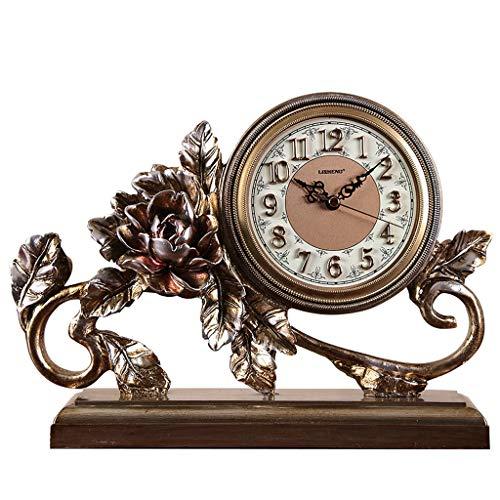 GZQDX Reloj de Mesa de Oro Acero Inoxidable Reloj de Escritorio silencioso Sala de Estar Digital decoración del hogar