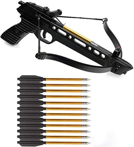 DZGN Ballesta Pernos de Aluminio Ballesta Pernos Flechas 6,3 Pulgadas de Acero Consejos para la búsqueda Flechas, para 50-80lbs Mini Ballesta de Tiro con Arco Pistola Ballesta Flechas,60 Pack