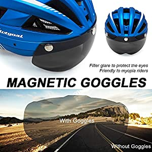 VICTGOAL Bike Helmet for Men Women with Led Light Detachable Magnetic Goggles Removable Sun Visor Mountain & Road Bicycle Helmets Adjustable Size Adult Cycling Helmets (Metal Blue)
